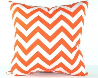 Orange Chevron Outdoor Decorative Throw Pillow - Orange and White Zig Zag - Free Shipping