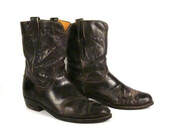 Frye Cowboy Boots Vintage 1970s Western Black Label Mens 11 1/2