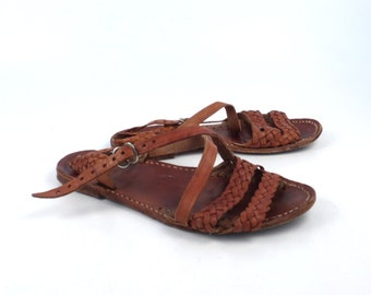 Leather Woven Sandals Vintage 1980s Brown Camel Huaraches size 36