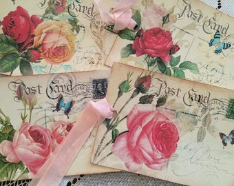 Pink Roses Vintage Post Card Shabby Chic Romantic Gift Tags