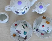 Extra SET of cups and saucers for hand painted porcelain personalized custom children's tea set