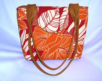 Purse Shoulder Bag Medium-Sized Red and Orange Tropical Floral Double Straps Pockets Ready to Ship