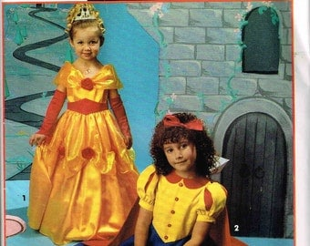 Girls Fairy Tale Gowns Snow White Cinderella Princess Halloween Costume Simplicity 0666 Sewing Pattern Child Size  2 3 4 5 6