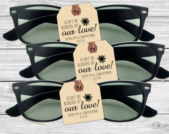 Custom wedding favor stamp--Don't be blinded by our love!--152TS