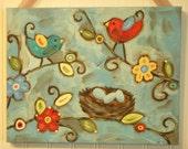Bird nest painting Canvas Primitive folk art 11 x 14 Original wall art Family Home Decor Wall Hanging Eggs Tree Flowers Aqua blue Red Brown