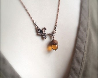 Mini Glass Acorn in Topaz with Copper Squirrel Necklace by Bullseyebeads