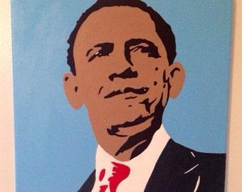 Barack Obama painting done in acrylic