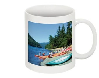 Photo Coffee Mug with a Beautiful Nature Blue Mountain Lake & Boating Scene on Each Side Home Trends Gift Idea for Her Office Gift for Him