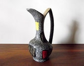 Modernist West German Scheurich Art Pottery Pitcher, Ewer Vase, Attrib. Heinz Siery