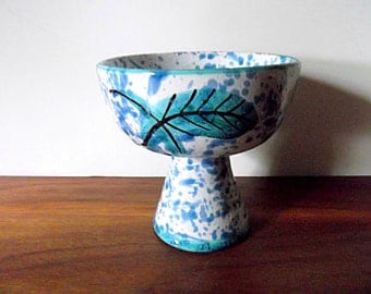 Vintage Vimax Creation Italian Art Pottery Chalice Style Vase, Vessel, Blue, White, Leaf, Splatter