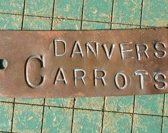 Copper Garden Marker, Danvers Carrots, Gardeners Gift, key fob, garden row tag, greenhouse destash