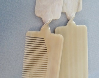 Vintage Luxor Comb Mirror Set Purse Size Off White Ivory