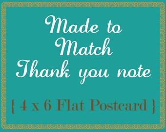 Made To Match Thank you Flat 4 x 6 Postcard