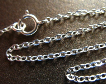 Sale.. 1 5 10 pc, 16 17 or 18 inch, Sterling Silver Chain, FINISHED Chain, Flat Cable, Oval Links, 2x1.6 mm, solo d80.d hp