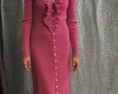 RESERVED FOR AUTUM W-Lipstick Pink 70s Maxi dress, knit, ruffle, long. sweater, boho, holiday, pink,