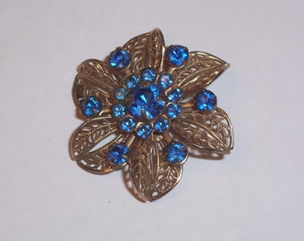 Vintage Brooch with Blue Rhinestones