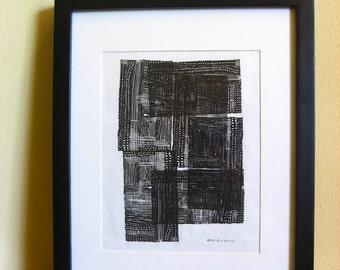 """Giclée Print of an Original Linocut Monoprint: Paths 07 - """"Us All"""""""