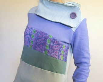 Hoodie Sweatshirt Sweater Handmade Recycled Upcycled One of a Kind AWESOME Ladies SMALL - Periwinkle Pastel Purple Pockets