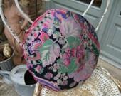 Vintage French  Floral Satin Boudoir Pillow / Black & Pink Floral Satin Cushion / Paris Apartment Chic / Romantic Boudoir Chic Accessory
