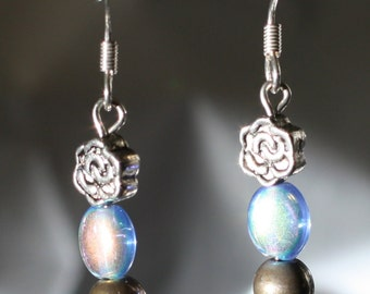 Dainty Flower and Blue Glass Bead Earrings