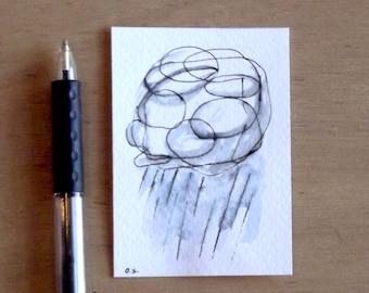 rain modern original aceo watercolor ink pen painting contemporary art