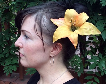 Orange Tiger Lily Hair Clip
