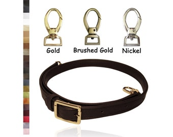 Adjustable Buckle Strap - Extra Long Crossbody Length - 1 inch Wide - Your Choice of Genuine Leather Color and Hardware #2 - Made to Order