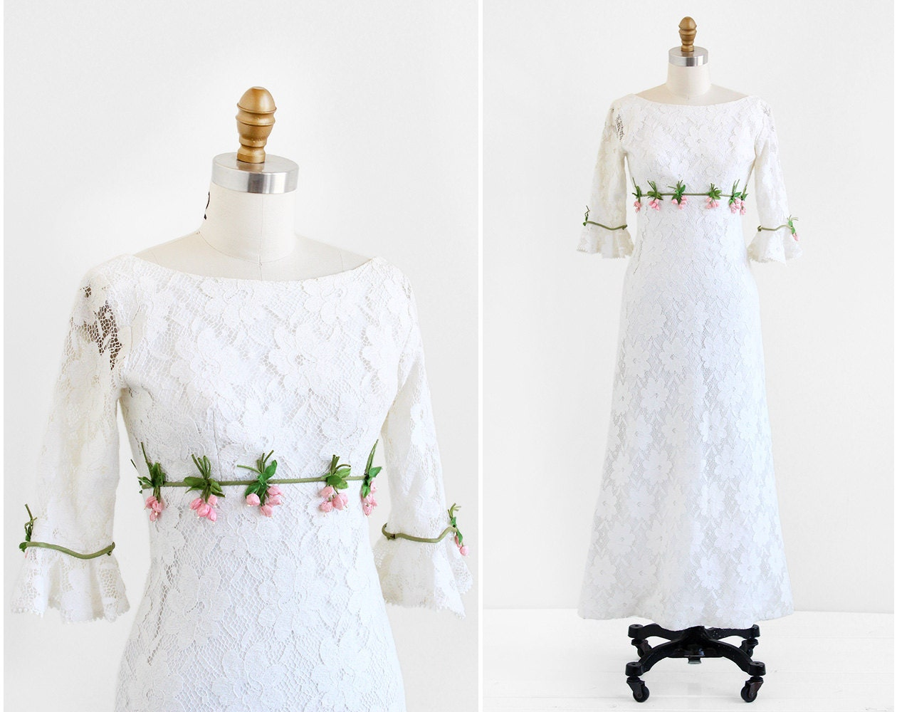 Vintage 1960s Wedding Dress 60s Wedding Dress White Lace