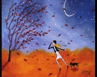 Against The Wind a Small Autumn Winds fall leaves black Cat PRINT by Deborah Gregg
