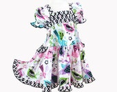 Colorful Birds Modern Girl's Dress Pink Purple Teal Cotton Party Dress Size 2 3 4 5 6 7 8 10 12 14 Boutique Girl Clothing Tween Girl Clothes