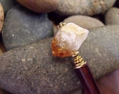 "Natural Citrine Gemstone Hairstick, Rustic and Earthy Bohemian Long Hair Jewelry with Vermeil Accents ""Bedrock Bauble"""