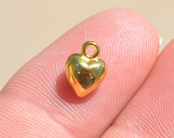 10  Gold Puffed Mini Heart 9 x 7mm Charms GC3633