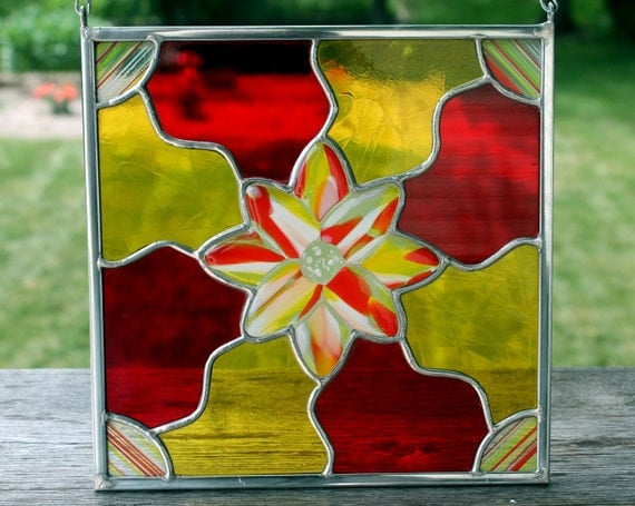 Stained and Fused Glass Panel in Vivid Red and Yellow