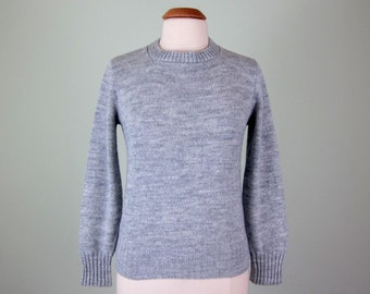 70s sweater / heather grey knit crewneck jumper top (s - m)