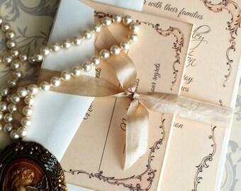 Vintage Romantic Fancy Frame Wedding Invitation SAMPLE Handmade by avintageobsession on etsy