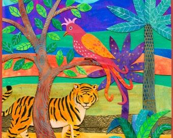 Tiger and bird jungle scene, original children's art collage