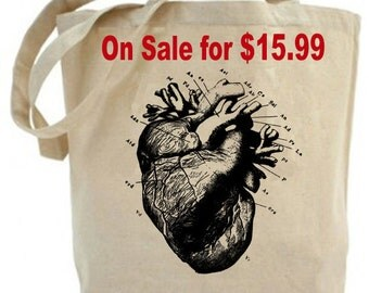 Tote Recycled Cotton Canvas Market Shopping Bag - Anatomical Heart