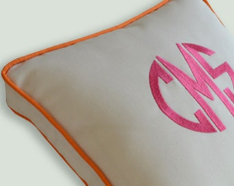 EMBROIDERY MONOGRAM PILLOW - New Style  - White Sunbrella, Cotton- Any Color Embroidery and Trim - Any Size -Nursery- Baby Girl or Boy