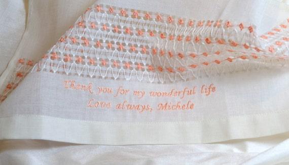 WEDDING HANDKERCHIEF - Bridal - Hankie - Hand Embroidered Decoration - Machine Embroidered Sentiment