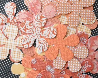 DESTASH - 25 Assorted Orange / Peach 5 Petal Flower Die Cuts