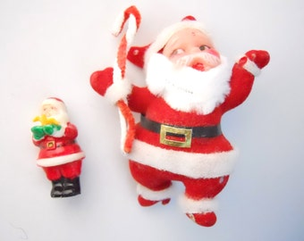 JOLLY SANTAS PAIR- small molded figure and large flocked velvet