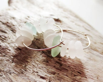 Beach glass hoops.  Sea glass earrings.  Sterling silver hoops.  Aqua beach glass jewelry.  White sea glass.
