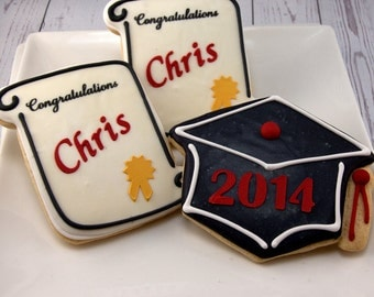 Graduation Cookies, Diplomas or Mortar board Caps - 24 Decorated Sugar Cookie Favors