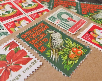 Christmas .. Partridge in a Pear Tree .. UNused US Vintage Postage Stamps  .. post 5 letters