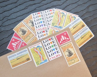 Country .. LOVE .. UNused Vintage Postage Stamps  .. post 5 letters
