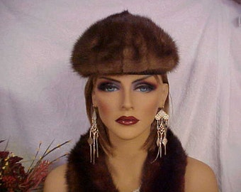 SALE.   Dressy brown mink pill box hat- fits 22 inches