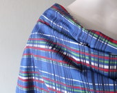 Vintage blue watercolor plaid cotton fabric yardage - 3.5 yards - curtain dress pillow crafting - 1950s painterly print