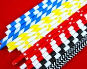 Assorted Super Hero Paper Straws and PDF Printable Party Flags