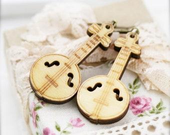 Chinese RuanQin earrings - wood charm