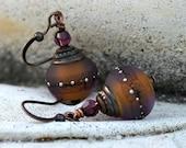 Silk Road - Plum and Amber Lace Lampwork Drop Earrings - Antique Copper, Swarovski Crystal, Purple